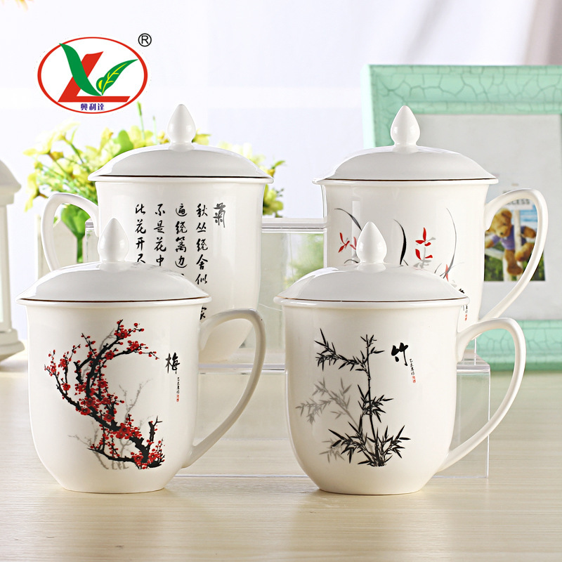 330cc Ceramic Tea Cup Mug With Lid Handpainted Chinese Kung Fu