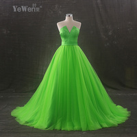 YeWen Evening Dresses 2018 Long V Neck Green Prom Dresses robe de soiree longue formal Sweep Train quinceanera