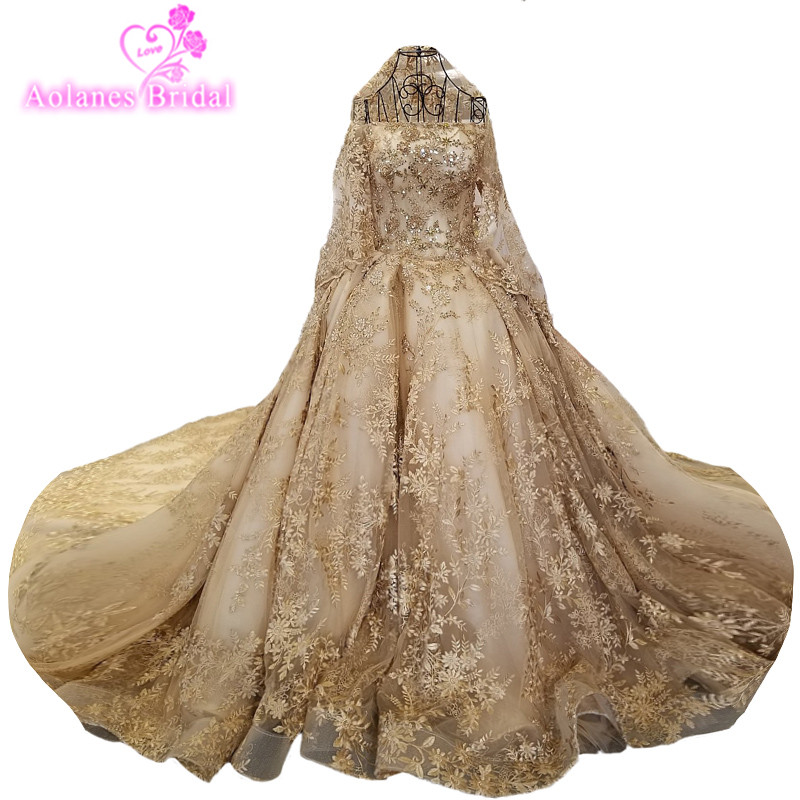 Cathedral Length Train Wedding Gowns: 2018 Gold Lace Long Sleeves Cathedral Train Floor Length