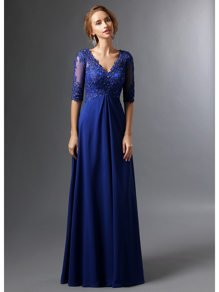 2107 Real Royal Blue Long Mother of the Bride Dresses With Sleeves Beaded Lace Appliques V Neck A-line Mother's Formal Wear
