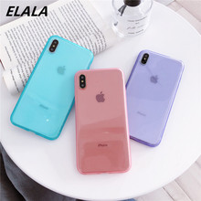 ELALA Transparent Soft TPU Case For iPhone 7 X Candy Color Cover XR Xs Max 6S 6 8 Plus Glossy Clear Bag