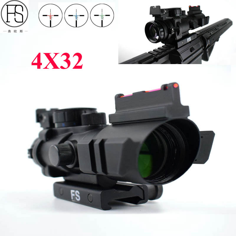 New Tactical 4x32 Reflex Optics Scope Military Riflescopes Outdoor Hunting Sniper Scope Sight Airsoft Gun Rifle Scope 20mm Mount