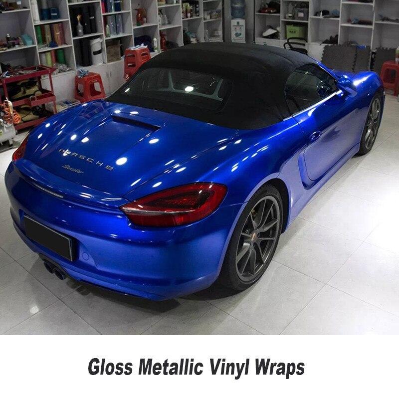 Brillant Métallique bleu Enveloppe de Vinyle De Voiture Wrap Avec Bulle D'air Libre De Sucrerie Minuit brillant Bleu Vinyle Wrap Film 5ft X 65ft/Rouleau
