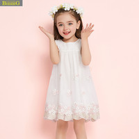 新しい夏キッズ女の子プロムのウェディングドレス赤ちゃんノースリーブネット糸蝶の結び目ドレス用女の子プリンセスパーティー服1-7y