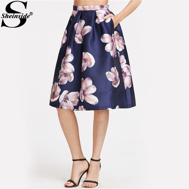 sheinside flower print midi skirt navy box pleated women a
