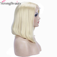 StrongBeauty Court Bob Perruque Blonde Synthétique Résistant À La Chaleur Sans Colle Droite Avant de Lacet Perruques