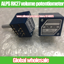 1pcs Original Japanese ALPS RK27 double volume potentiometer / A50K A100K round handle 27 type audio potentiometer