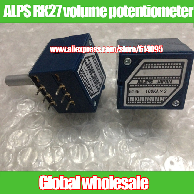 1pcs Original Japanese ALPS RK27 double volume potentiometer / A50K A100K round handle 27 type audio potentiometer