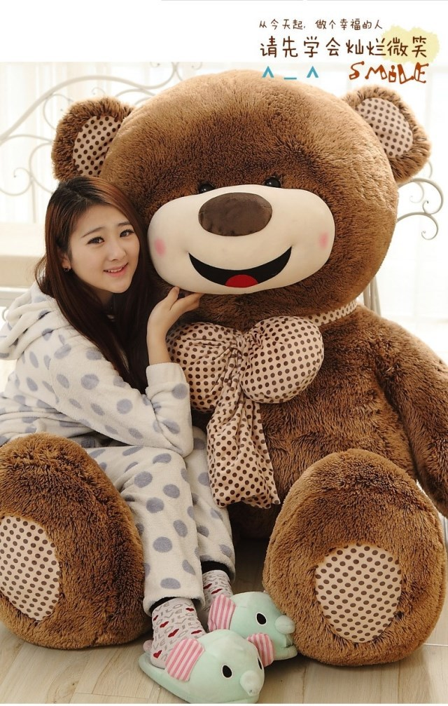 filling toy larggest 180cm happy smile face teddy bear plush toy hugging pillow Valentine's Day present ,birthday gift w5466