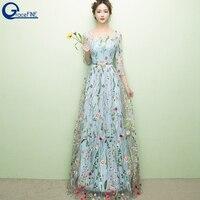 Autumn Sexy Fashion Designer New Elegant Blue Flower Embroidery Appliques Mesh Slim Women Vintage Long Dress Woman Party Dress