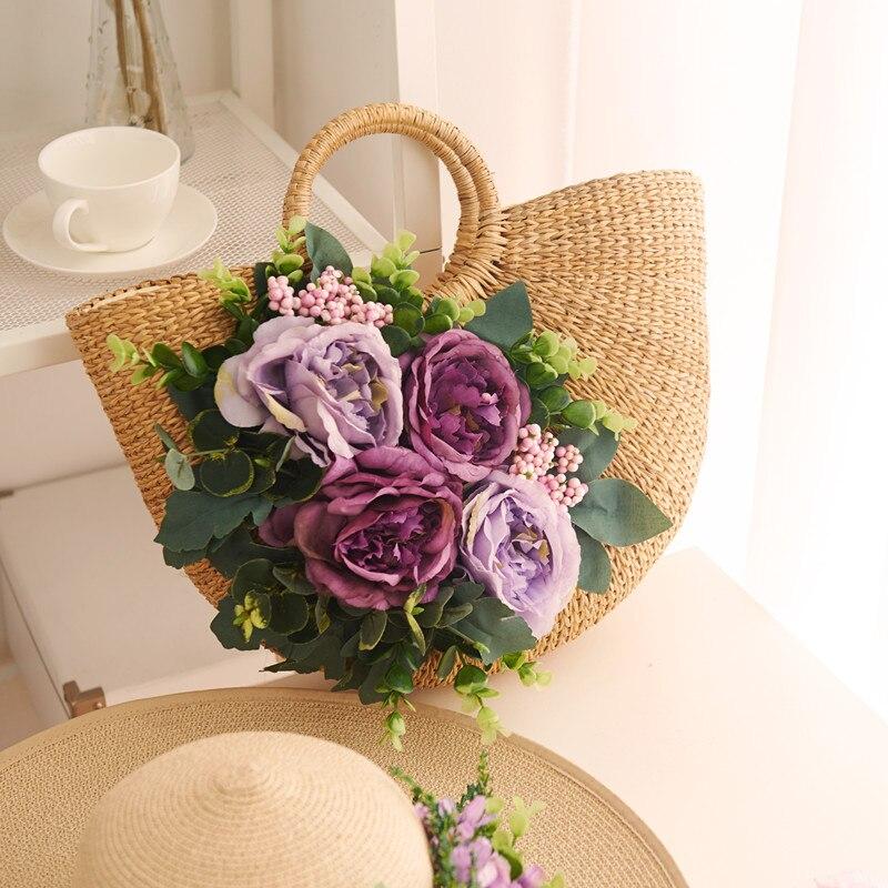 2017 new Korean original flower bag lady Summer Beach Bag Handbag straw bag rattan braided grass bag