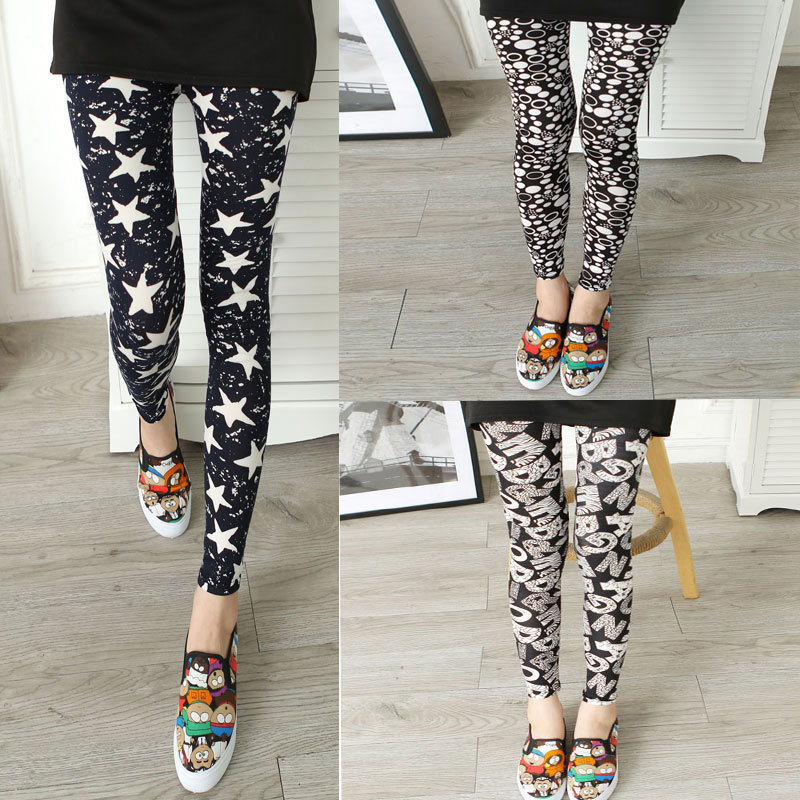 Leggings Hot Sell Women's Skull&flower Black Leggings Digital Print Pants Trousers Stretch Pants LG01