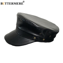 BUTTERMERE Women Military Hat Winter Autumn Ladies Faux Leather Flat Cap Female Fashion Black Army Top Captain Hats