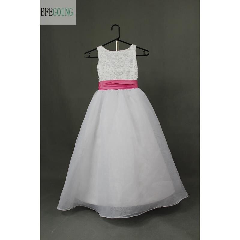 White Tulle Embroidery Beading Floor-Length   Flower     Girl     Dresses   Belt Sleeveless Real/Original Photos