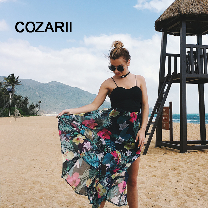 COZARII  Summer Boho Dress Women Sleeveless Backless Sexy Bohemia High Waist Female V-Collar Beach Girl