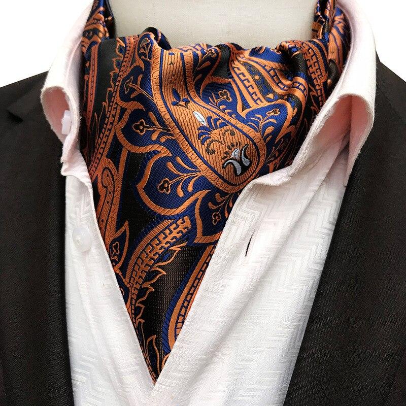Men's Vintage Paisley Floral Formal Cravat Ascot Tie Scrunch Self British Style Gentleman Polyester Silk Necktie Wedding Party
