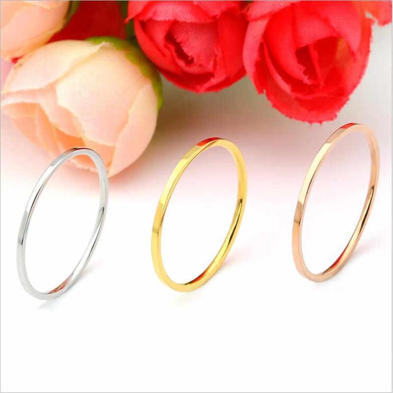 R013 316 L สแตนเลสสีดำ IP ปลูกผู้หญิงและแหวนผู้ชายความกว้าง 1 มิลลิเมตรไม่มีคุณภาพดี Tianium แฟชั่นเครื่องประดับ