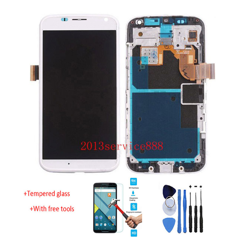 New 100% Test LCD Display Touch Screen Digitizer With Frame Assembly For Motorola for Moto X xt1058 xt1060 White + free tools new original lcd replacements for motorola moto g xt1032 xt1033 lcd display touch digitizer screen with frame assembly tools