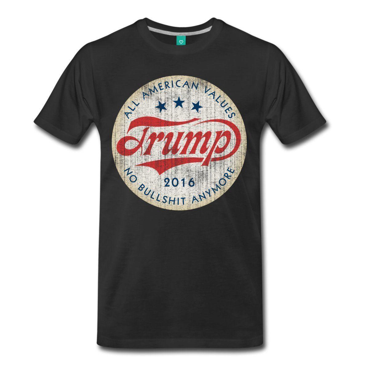 fa58d0fcfd09c6 Трамп 2016 американские ценности лозунг Мужская Премиум Футболка 2018  горячая Распродажа супер модная новая футболка весна