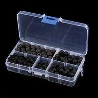 340pcs Box 4 6 8 10mm Black Lava Beads Natural Stone Volcanic Rock Round Loose Beads