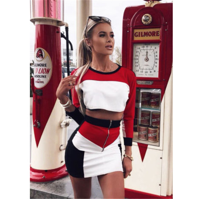 2018 Fashion Women Casual Long Sleeve Crop Tops Bodycon Short Mini Skirt Fashion Two Piece Set Clothing Outfit