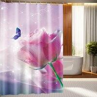 Festliche Rosa Rose und Schmetterling Muster 3D Dusche Vorhänge Wasserdicht Verdickt Bad Vorhänge für Bad Anpassbare