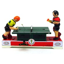1 Piece Creative Vintage Wind Up Tin Toy MINI Table Tennis Models Child Clockwork Classic Toys Retro  Kids Gift Adult Collection