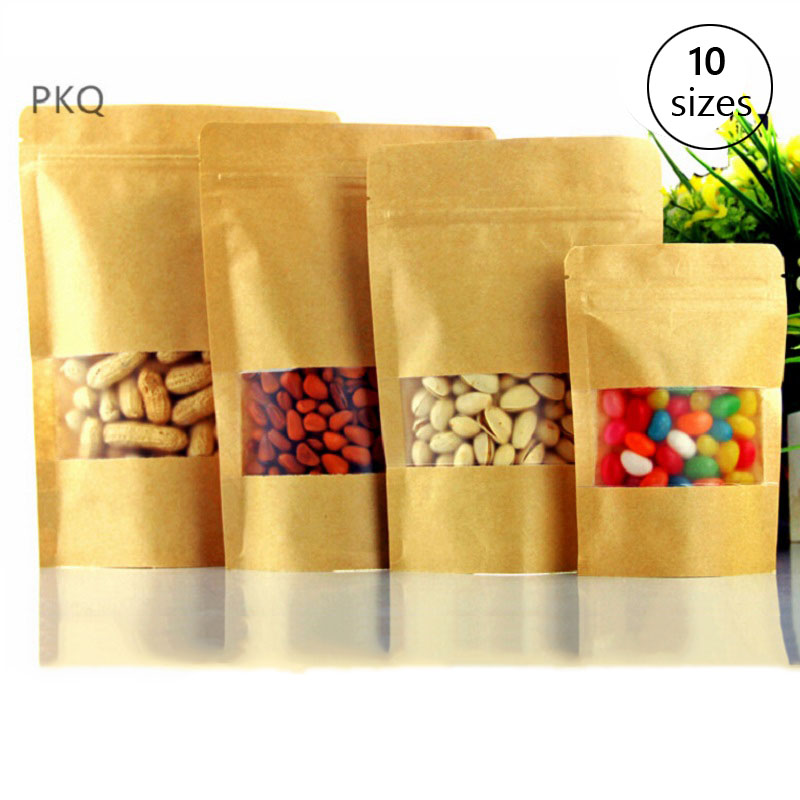 50-100pcs/lot Brown Gift Kraft Paper Bag Zip Lock Food Snack Tea Bag Packaging Retail Craft Paper Bag For Food Dried Fruit 5.9 Gift Bags & Wrapping Supplies Event & Party