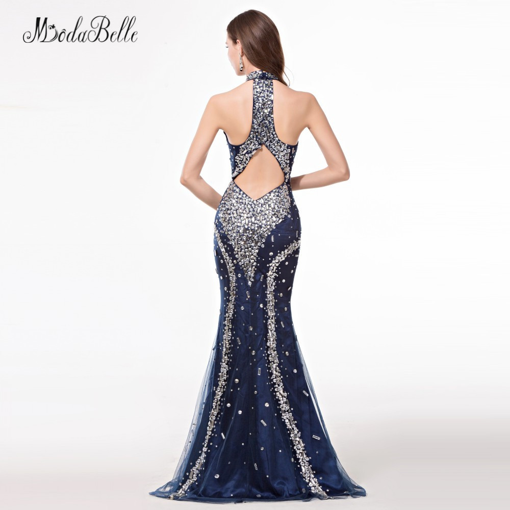 76304abb66c modabelle African Navy Blue Trumpet Mermaid Prom Dresses With Stones  Sparkle High Neck Crystal Bling Evening Dress 2018-in Prom Dresses from  Weddings ...
