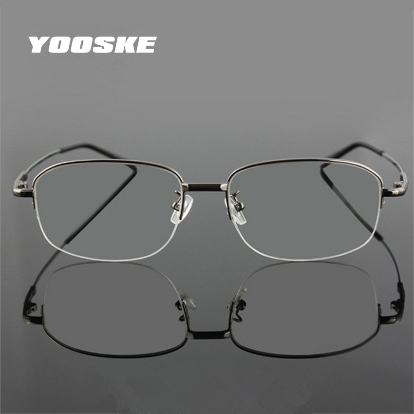 YOOSKE Memory Titanium Glasses Half Frame Optical Eyeglasses Frame Men Retro Half-frame Glasses Prescription Optical Frames