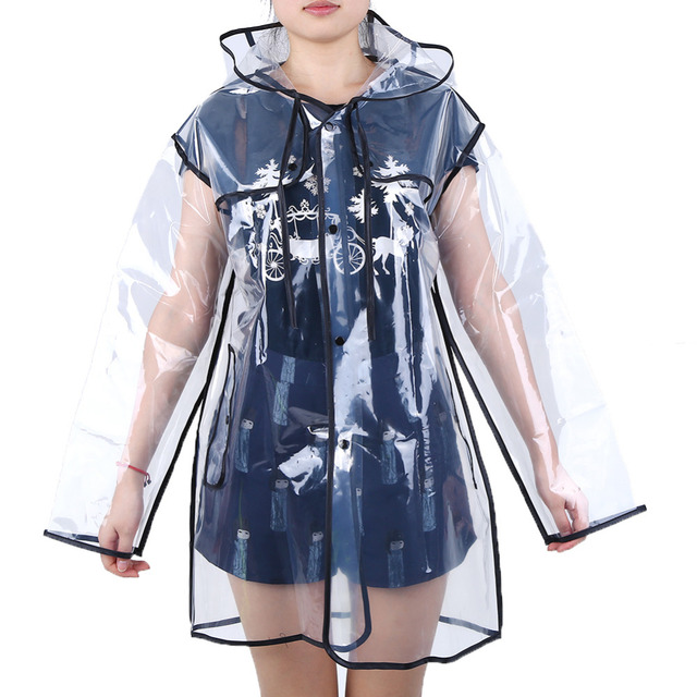 Transparent Rain Coat PVC Vinyl Waterproof Raincoat Outdoor Travel Runway Hooded Poncho Rain Coats Ladies Rainwear