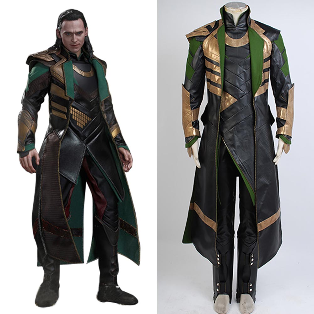 Avengers Thor The Dark World Loki Cosplay Costume Long Coat Full Suit Superhero Loki Costume Halloween Cosplay Costumes image