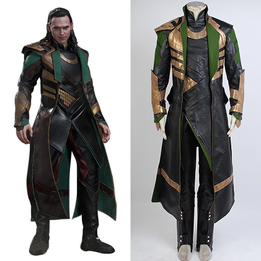 Avengers Thor The Dark World Cosplay Loki Cosplay Costume Long Coat Full Suit Superhero Halloween Cosplay Costumes