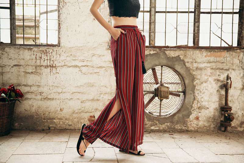 HTB1gh6MRXXXXXbcXFXXq6xXFXXXF - Woman Wide Leg Pants Holiday With Thin Open Fork Trousers For Sexy Red Plus Size PTC 231
