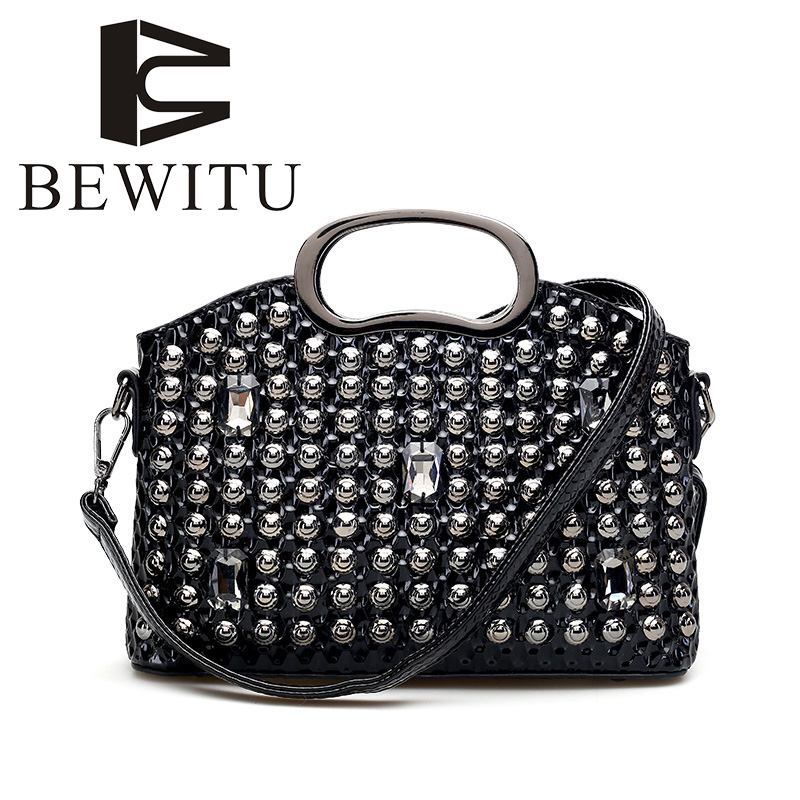 BEWITU Europe and The United States Women Luxury Diamond Small Shells Handbags 2018 New Iron Handle Bag Black Shoulder Bag europe and the united states women s new winter 2016 worn out show thin butterfly sequins loose nine points straight jeans