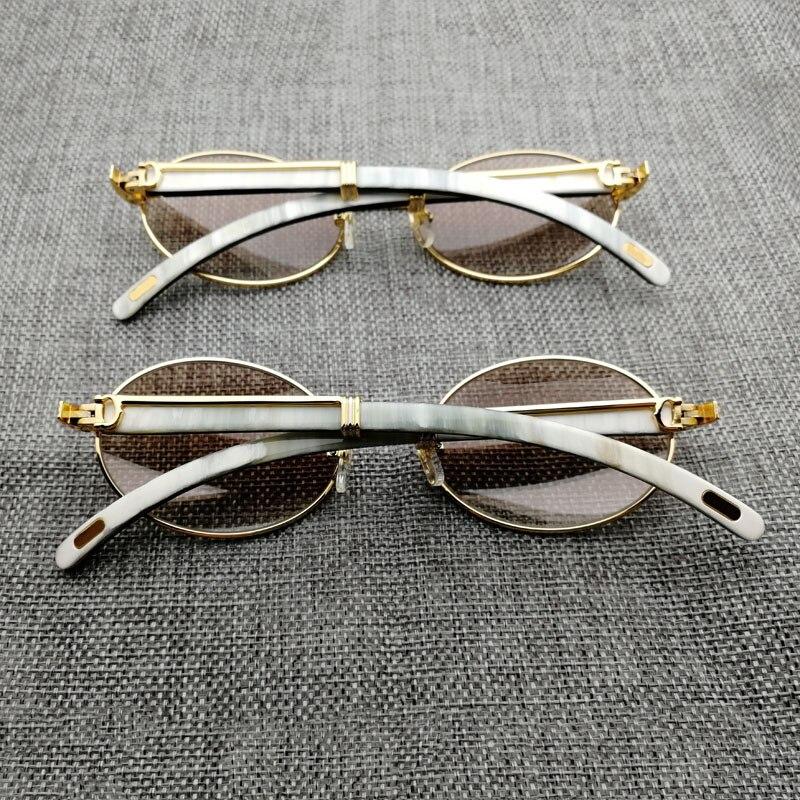 Винтаж белый микс черный рога буйвола солнцезащитные очки Для мужчин круглые деревянные очки Golded нержавеющей ясно очки кадр для вождения к...