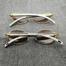 9c0a1988424 Vintage White Mix Black Buffalo Horn Sunglasses Men Round Wooden Eyewear  Golded Stainless Clear Glasses Frame for Driving Club