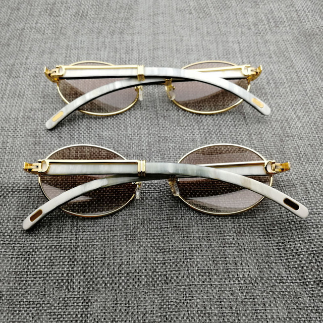 68c6510ec0c Vintage White Mix Black Buffalo Horn Sunglasses Men Round Wooden Eyewear  Golded Stainless Clear Glasses Frame
