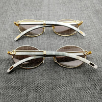 Vintage White Mix Black Buffalo Horn Sunglasses Men Round Wooden Eyewear Golded Stainless Clear Glasses Frame for Driving Club
