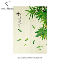 SewCrane Bamboo Chinese Symbols Japanese Home Restaurant Door Curtain Noren Doorway Room Divider