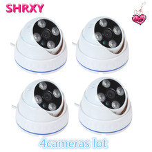 2017 newest 4pieces CCTV Camera 700TVL IR Cut Filter 24 Hour Day/Night Vision Dome  Surveillance Plastic Home Camera lot system