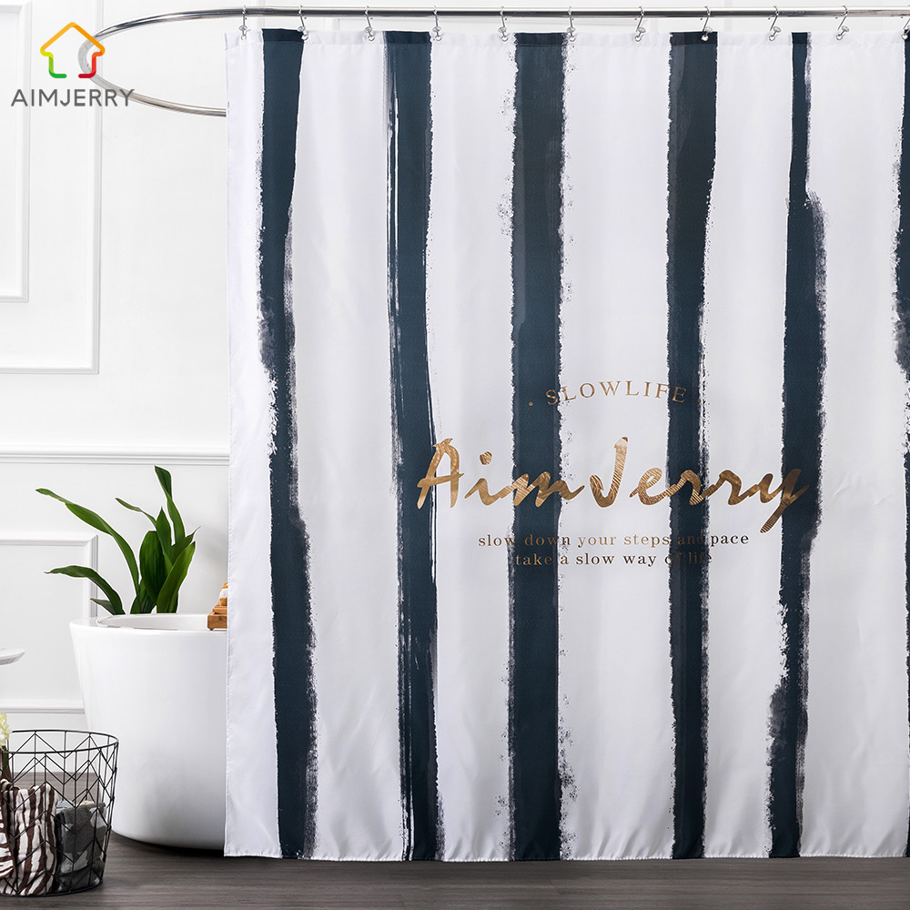 Aimjerry Black and Gold striped Fabric London bathroom Bathtub Shower curtain Pattern Liner with 12 Hooks 71Wx71H Waterproof