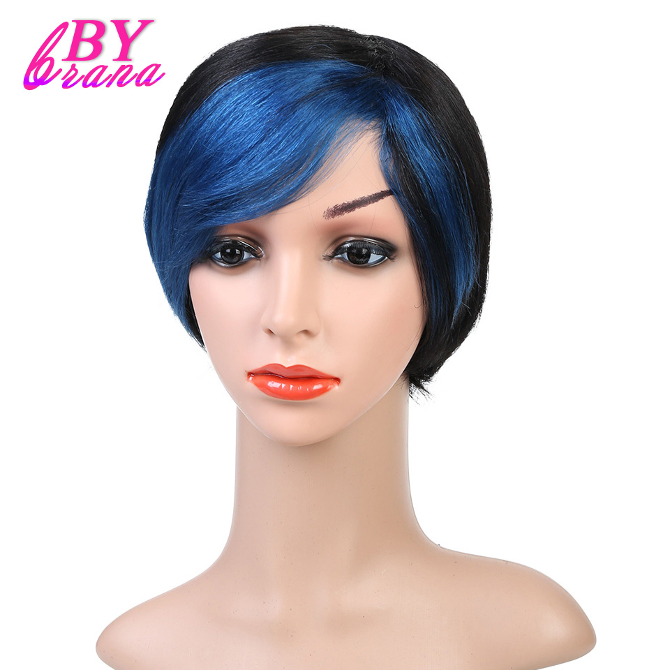 Bybrana Short Straight Blue Hair Remy Straight Hair Wig With Blue Ombre Color Brazilian Straight 100% Human Hair Wigs 6 Inches