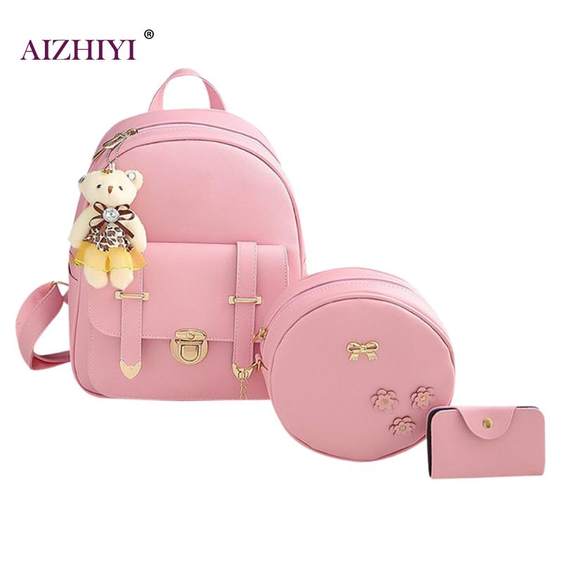 3pcs/Set Hot Cool Backpack Double Arrow Women Backpack Round Shoulder Bag Purse Quality Fashion Girls School Bags Mujer New