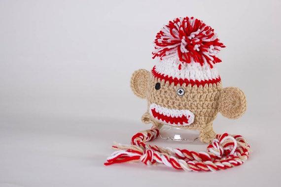 Crochet Animal Hats Sock Monkey Hats Newborn Photo Props Crochet