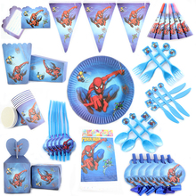 Spiderman Theme Cartoon Party Set Balloon Tableware Plate Napkins Banner Birthday Candy Box Baby Shower Party Decoration