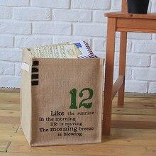Jute zakka desktop aufbewahrungsbox natürliche korb aufbewahrungsbox tasche Kurze wäsche eimer aufbewahrungstasche tuch ablagekorb umweltfreundliche