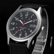 Fashion Men Military Watch Quartz Analog Clock Canvas Wristb