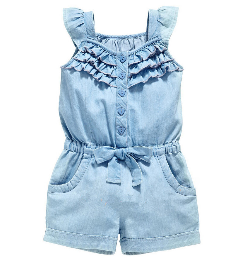 Summer Baby Girl Clothing Rompers Denim Blue Cotton Washed Jeans Sleeveless Bow-Knot Jumpsuit Costume For Baby Coveralls men jeans fear of god ripped blue mens holes leisure straight denim designer mens jeans streetwear clothing pant oversize 28 40