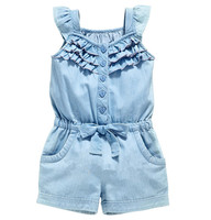 Summer Baby Girl Clothing Rompers Denim Blue Cotton Washed Jeans Sleeveless Bow Knot Jumpsuit Costume For